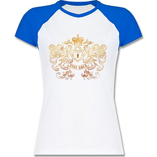 Rockabilly - Stay gold - zweifarbiges Baseballshirt / Raglan T-Shirt für Damen Weiß/Royalblau