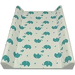 AsMi Colchón para cambiar pañales, diseño de elefantes Elefant Mondstein Blau Talla:70 x 50 II - cuña