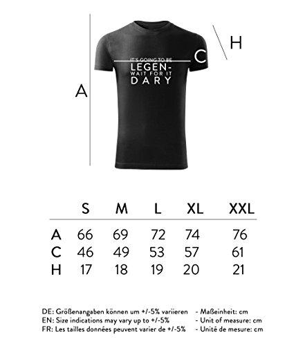 Herren Shirt Its going to be legen- wait for it -dary schwarz & weiß Motiv - T-Shirt Poloshirt mit Motiv - Neu S - XXL Schwarz