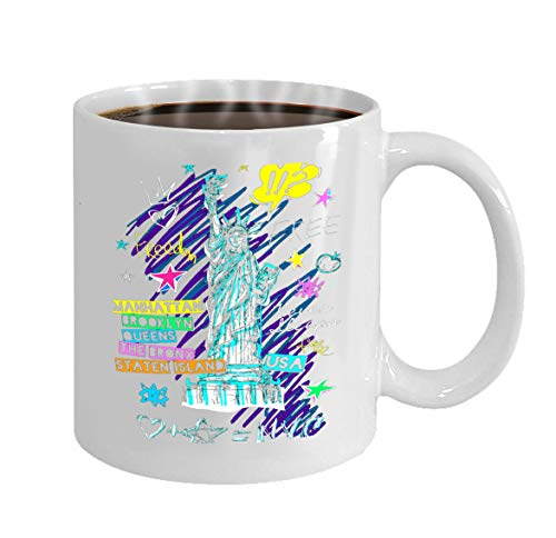 oween Party Gift Coffee Mug Tea new york city statue liberty ny doodle hand drawn f ()