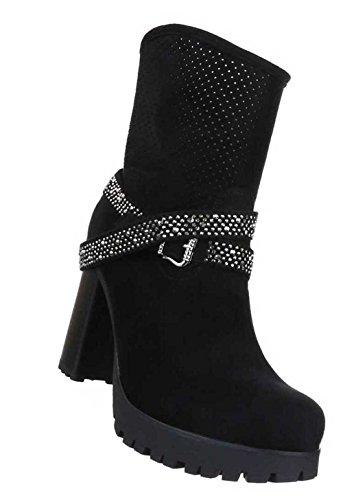 Damen Stiefeletten Schuhe Perforierte Western Boots Schwarz Schwarz KHAF7