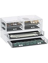 Allure Jewellery and Accessories Storage Box Display Stand Organizer for Makeup, Vanity and Cosmetic Case Deluxe Drawer Chest - 'Grade A' Acrylic