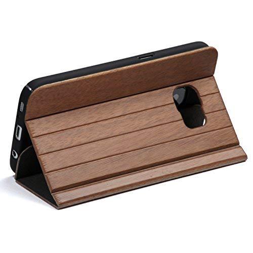 WOLA per galaxy s7 case flip legno FORREST cover plegable noce