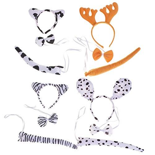 Kostüm Kit Kuh - Amosfun 4 sätze Kinder Tier Cosplay kostüme Haarband Fliege Schwanz für Performance Show (geweih fleckig Hund Kuh Zebra) Weihnachten Geburtstagsgeschenk für Kinder