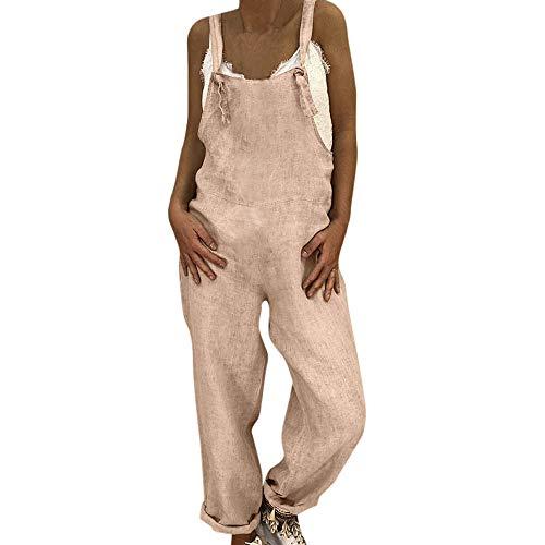 SHOBDW Herbst Damen Einfach und Stilvoll Nachgemachte Baumwolle Leinen Overall Latzhose Pluderhosen Mode Youth Frauen Mädchen Solid Jumpsuit Overall zum Ganzjährig -