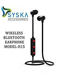 Syska Wireless Bluetooth Earphone with Mic Model H15 (Assorted Color)