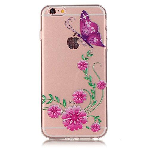 Etsue Custodia iPhone 5S Trasparente,Colorate Dipinto Modello Con Disegni,iPhone SE Cover in Silicone Tpu Flessible Sottile Antiscivolo e Antigraffio Protettivo Cover Bumper Case Per iPhone 5/5S/SE+Bl Butterly*