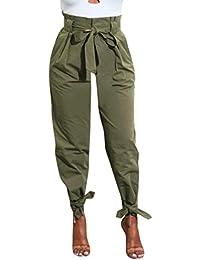 Moonuy Casual Couleur Unie cigarette pantalon femme pantalon chic large taille haute léger pantalon femme