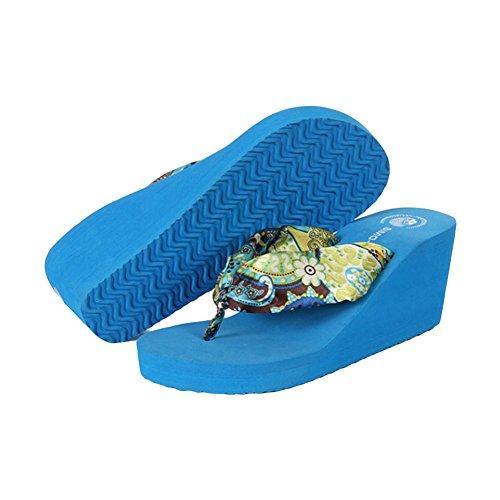 Le printemps et l'été les personnages bohémiens glissent la pente de loisir avec le fond épais souliers de plage de dossier Toe pantoufles femelles blue