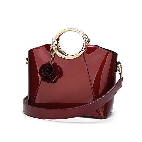 Tisdaini Damenhandtaschen Mode Schultertaschen Lackleder Shopper Umhängetaschen