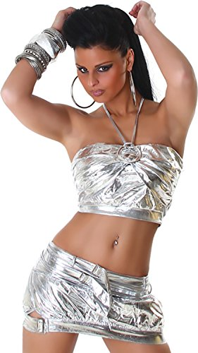 Sexy GoGo Set Rock + Top im Leder-Optik Wet-Look Einheitsgr. 32-36 Silber