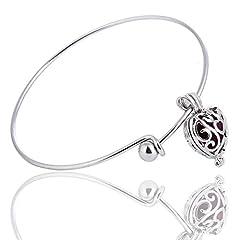 Idea Regalo - Donna Exquisit Vintage a forma di cuore ciondolo collana orecchini bracciale catena braccialetto con oli essenziali Aromaterapia Diffusore Floating medaglione ciondolo medaglione, Argento Bronzo