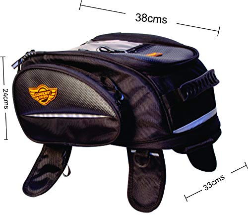 Guardian Gears Jaws 28L Magnetic Tank Bag with Rain Cover for All Motorbikes with Metal Tank