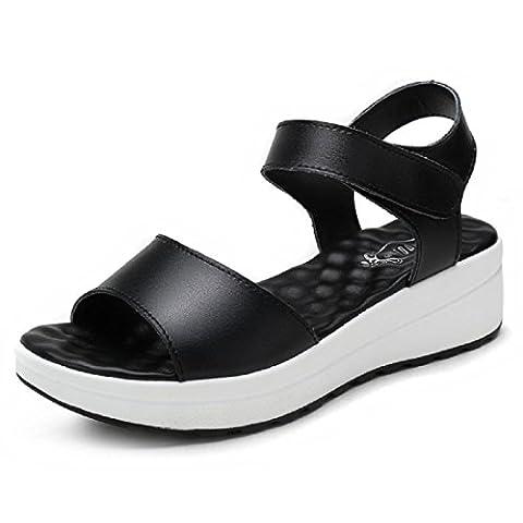 Femmes Fond épais Pompes Des sandales Chaussures plates Chaussures de plage Chaussures décontractées Petite taille et Grande taille EUR TAILLE 31-44 , black , 44