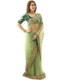 Isha Enterprise Women's Nylon Net Saree With Blouse Piece (Kfpsn-14_Green)