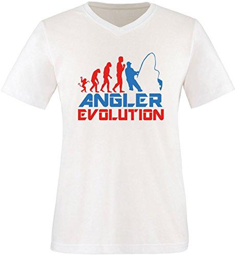EZYshirt® Angler Evolution Herren V-Neck T-Shirt Weiss/Rot/Blau