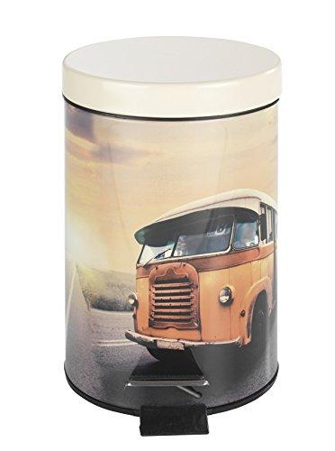 Wenko 21604100 Cubo de Basura con Pedal, 3litres Vintage de autobús de Dos Pisos