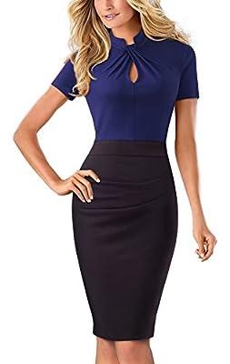 HOMEYEE Women's Vintage Stand Collar Short Sleeve Bodycon Business Pencil Dress B430