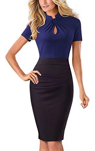 HOMEYEE Damen Vintage Stehkragen Kurzarm Bodycon Business Bleistift Kleid B430(EU 36 = Size S,Dunkelblau) -