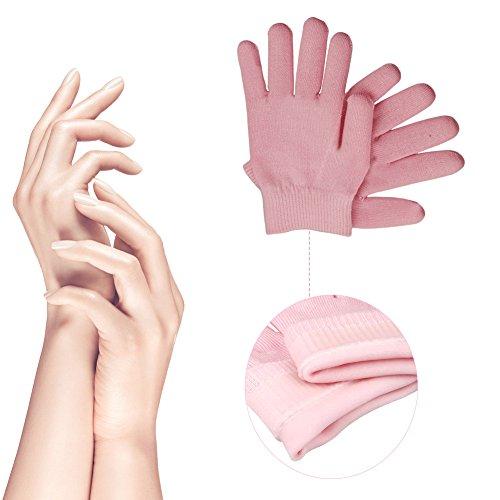 Feuchtigkeitsspendende Gel Handschuhe, 1 Paar Unisex SPA Handschuhe, Magische Kosmetikerin erweichen Whitening feuchtigkeitsspendende Behandlung Handpflege, Rosa