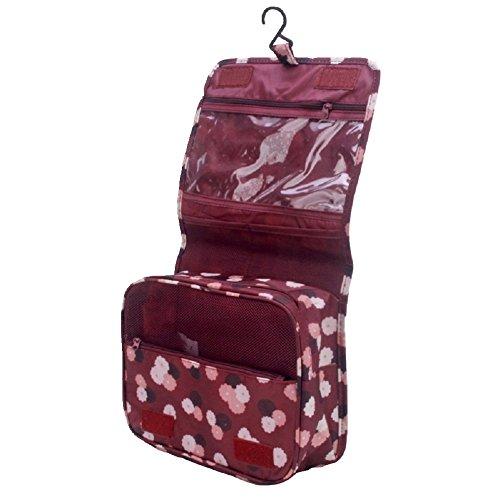 Hengsong Trousse de Toilette Voyage Folding Portable Organiseur Pochette Sac de Rangement Sac Cosmétique Compartiments Multiples (Vin rouge)