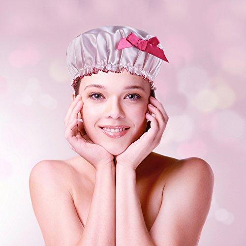 Wasserdicht Dusche Gap, schimmelresistente Terry Gefüttert Bad Haar Kappen mit Elastic Band für Frauen und Mädchen, weich und niedlich Best Pink Showercap für Prinzessin von mikimini (Extra Große Dusche-kappe Für Frauen)