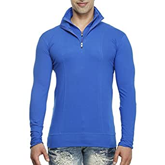 Tees Collection Men's Half Zip Double Flap Collar Full Sleeve Blue Colour T-shirt