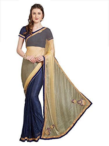 Aaina Stretch Georgette Lycra Beige & Blue Embroidered Half & Half Saree with Blouse(FL-12259)  available at amazon for Rs.339