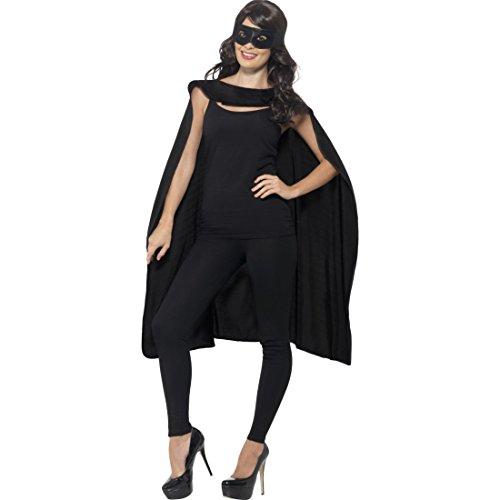 Amakando Superheld Kostüm Superheldenumhang & Maske schwarz Helden Kostüm Erwachsene Superman Umhang und Augenmaske Superhelden Cape Outfit Superhero Karnevalskostüm