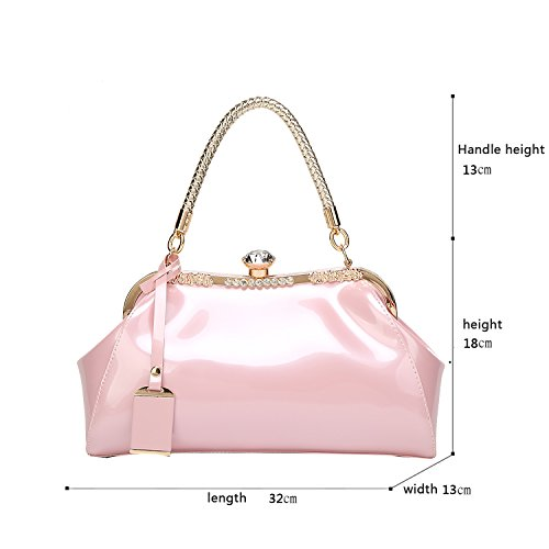 H&S La nuova borsa femminile laccata di cuoio di vernice di modo ha placcato il raccoglitore della signora di svago del sacchetto del messaggero della spalla Rosa