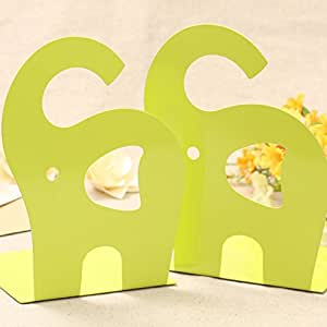 B & y 1 coppia cute Elephant Nonskid Bookends Art Bookend Green