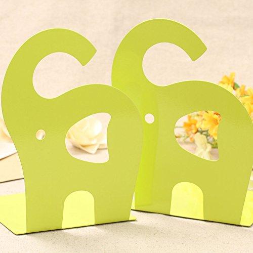 B & Y 1pair simpatico elefante Nonskid Fermalibri Art Bookend Green