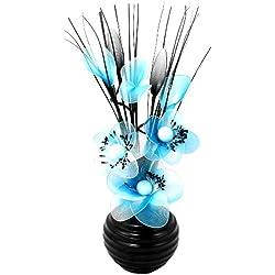 Flourish 813 - Juego de flores de plástico y florero pequeño, color azul y negro