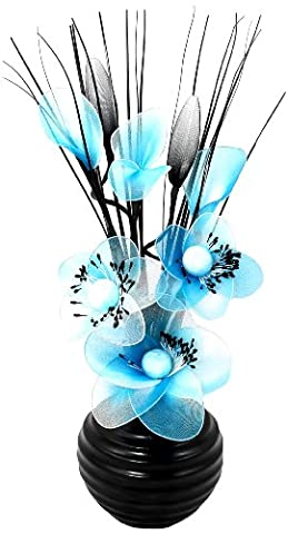 Flourish 704513 813 Black Vase with Blue and White Nylon Artificial Flowers in Vase, Fake Flowers, Ornaments, Small Gift, Home Accessories,
