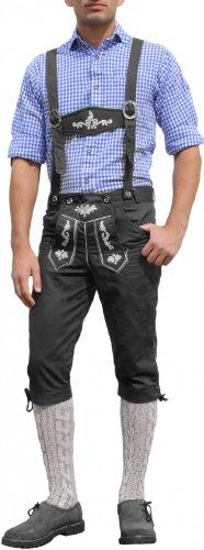 Trachten Kniebundhose Oktoberfest Jeans Hose mit Hosenträgern Schwarz, Größe:46