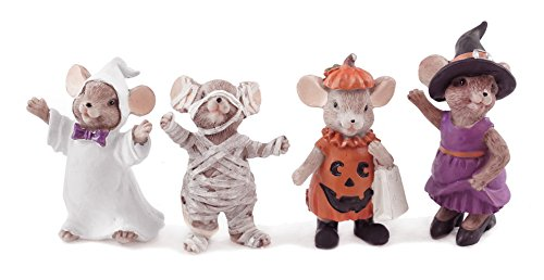 Creative Co-op Mäuse in Trachten Deko Halloween Figuren-Set von - Mumie Zombie Kostüm