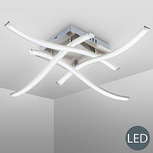 Plafoniera LED da soffitto, lampada moderna con bracci luminosi per l'illuminazione da interno, luce calda, LED integrati 4x3,4W 4x350Lm, metallo color nickel opaco, dimensione 47,5x47,5cm 230V IP20