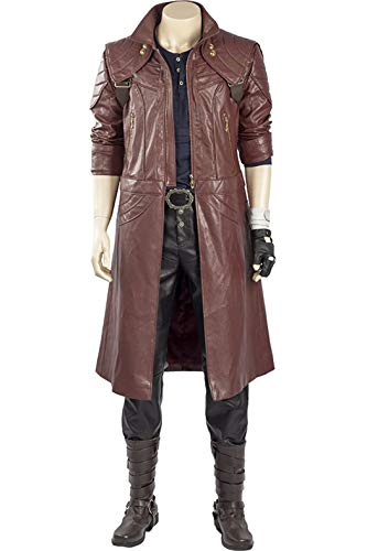 Kostüm Leder Jacke - Xiemushop Herren Spiel Cosplay Kostüm Uniform Leder Lange Jacke Mantel