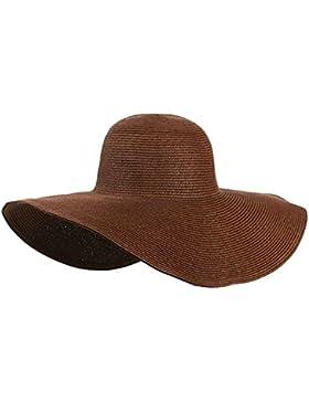 hugestore mujeres Ladies plegable sombrero de ala ancha disquete paja sol visera playa sol sombrero gorra marrón...
