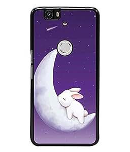 PrintVisa Designer Back Case Cover for Huawei Nexus 6P :: Huawei Google Nexus 6P (Night Sky Rabbit Shooting Stars Blue)