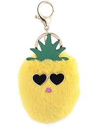 artistic9(TM) Süße Ananas Handtasche Schlüsselanhänger flauschig Ball Handy Auto Schlüsselanhänger Anhänger, gelb, 14 cm