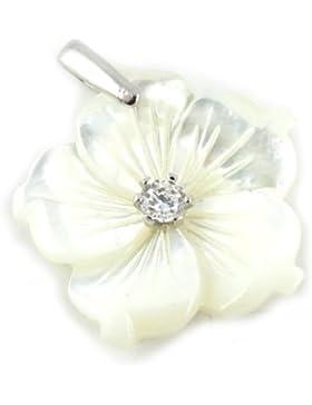 Anhänger silber 'Fleur De Sagesse'perlmutt weiß.