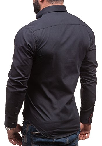 BY MIRZAD - Chemise casual - à manches longues – BY MIRZAD 6859 - Homme Noir