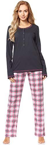 Merry Style Damen Schlafanzug MS10-211 (GraphitKarierrt, XL)