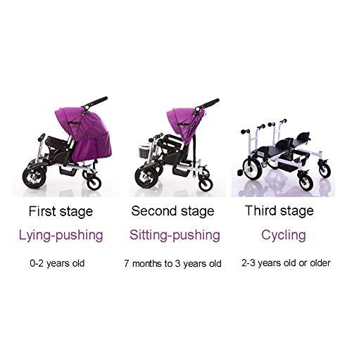YRCBHJ Twin Kinderwagen Kinder Doppel Dreirad Sommer Leichte Atmungsaktive Kleinkind Kinderwagen Doppel Buggys for Kinder Von Der Geburt Bis 4 Jahre, (Color : Purple)