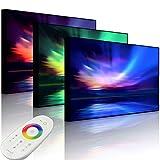 Lightbox-Multicolor | LED Leuchtbild | Nordische Polarlichter | 100x70 cm | Front Lighted