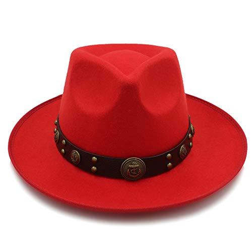 MTX-Sonnenhüte Hut, Mode Frauen Männer Wolle Fedora Hat Für Gentleman Elegante Dame Floppy Cloche Breiter Krempe Jazz Kirche Pate Sombrero Cap (Farbe : Rot, Größe : 58 cm)