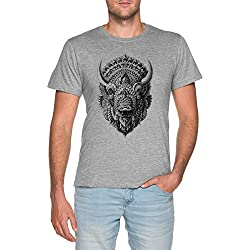 Bisonte Hombre Gris Camiseta Tamaño S Men Grey T-Shirt tee Size S