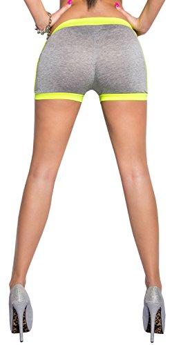 Koucla avec bords neonfarbenen short pour femme taille unique (34–38) Jaune - grau neongelb