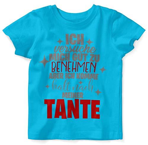 Mikalino Baby/Kinder T-Shirt mit Spruch für Jungen Mädchen Unisex Kurzarm Ich versuche Mich gut zu benehmen | handbedruckt in Deutschland | Handmade with Love, Farbe:Atoll, - Versuchen Jungs Kostüm